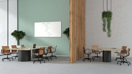 DRUM900 with 3000x1600 - Specfurn Commercial Furniture Natural Oak Top + DRUMM600 with 1200 Dia. Top + BRAVI Tan-2